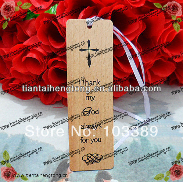 6pcs/pack free shipping cheap promotional gift beech wood bible religious bookmark with silk printing(China (Mainland))