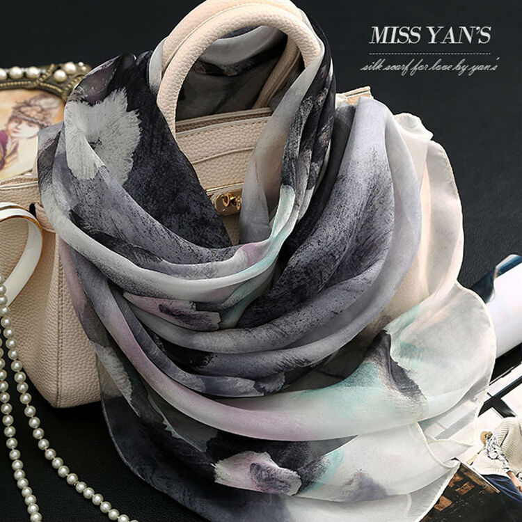Genuine 100 % Silk Women Scarf 2016 Spring Summer Winter High Quality Shawl Fashion Chinese Style Ink Lotus Print Scarves(China (Mainland))