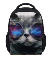 Animal 3D Glasses Cat Print Girls School Backpack Mochila 12 inch Children Backpack Canvas Gift Boys Rucksack for Kindergarten(China (Mainland))