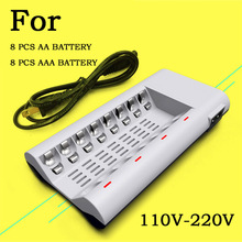 LED Indicators C808W Smart Charger For AA / AAA NiCd NiMh Rechargeable Battery With 8 Slots Convenient To Use + AC Power Cable(China (Mainland))