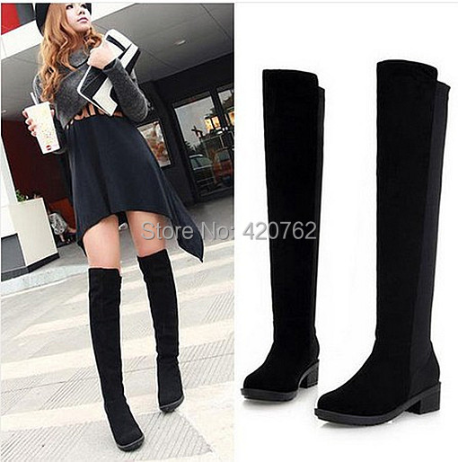 New Arrival Sexy Women Black Over Knee High Faux Suede Stretch Thigh Boots Ladies Slim Flat Heel Long Shoes 3 Size(China (Mainland))