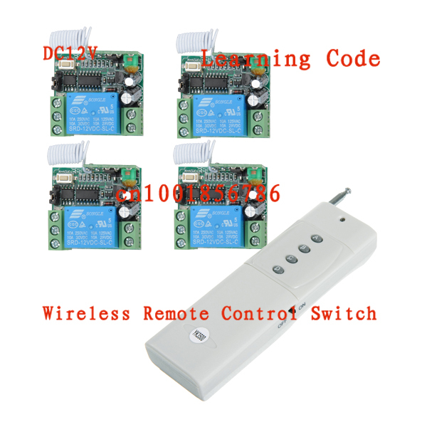 Free Shipping DC 12V 10A 1CH 3000M 1 Transmitter & 4 Receiver Radio Frequency Wireless Remote Control System(China (Mainland))