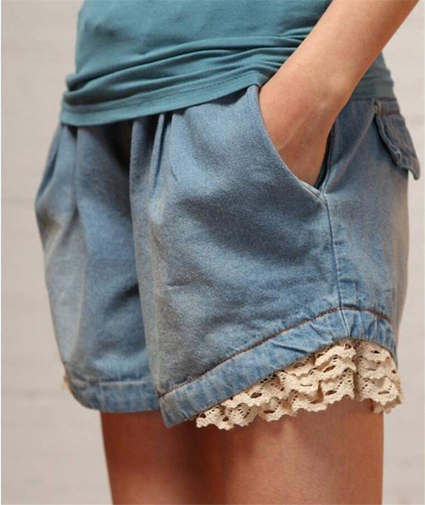 Прорезиненная тесьма на поясе S-XXXL джинсовый шорты для женщины лето негабаритных деним шорты / женское без тары свободного покроя шорты