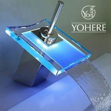 Yohere cocina de control de temperatura de cambio de color llevado grifo de lujo de baño de cromo pulido del grifo de lavado(China (Mainland))