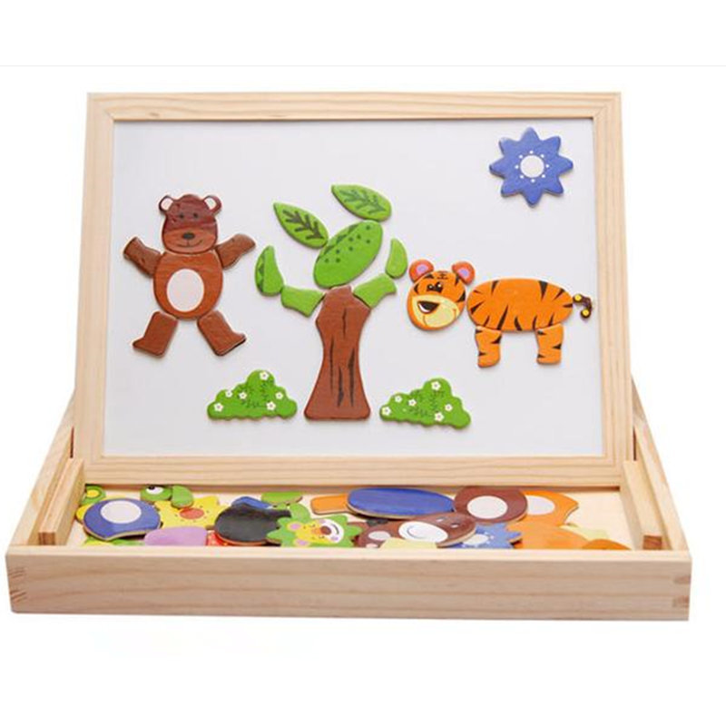 Multifunctional educational wooden puzzle toys for children kids toys jigsaw children's educational toys magnetic 3D puzzle(China (Mainland))