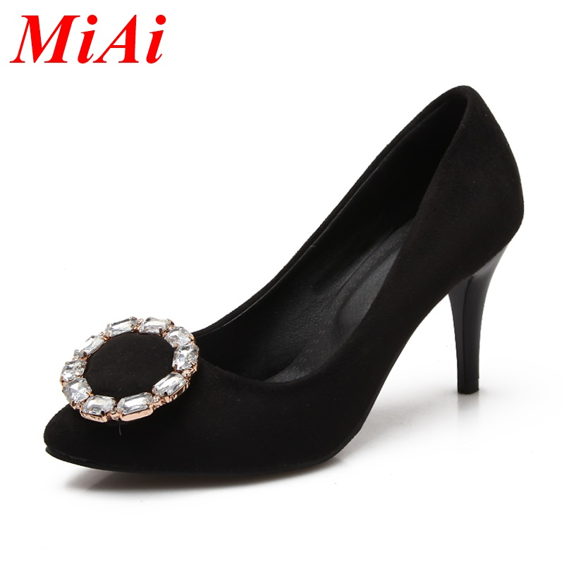 2016 new sexy women high thin heels pointed toe shoes woman pumps fashion rhinestone wedding party shoes for women size 32-43