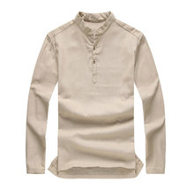 Asian fashion mens pullover shirt longsleeve linen shirts collarless shirt men AY197