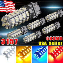 3157 Led Car High Power 68SMD led 5050 Yellow Blue Red White Rear Brakeled Lights Bulbs 12V T25 Turn Signal Car Light Source -DE(China (Mainland))