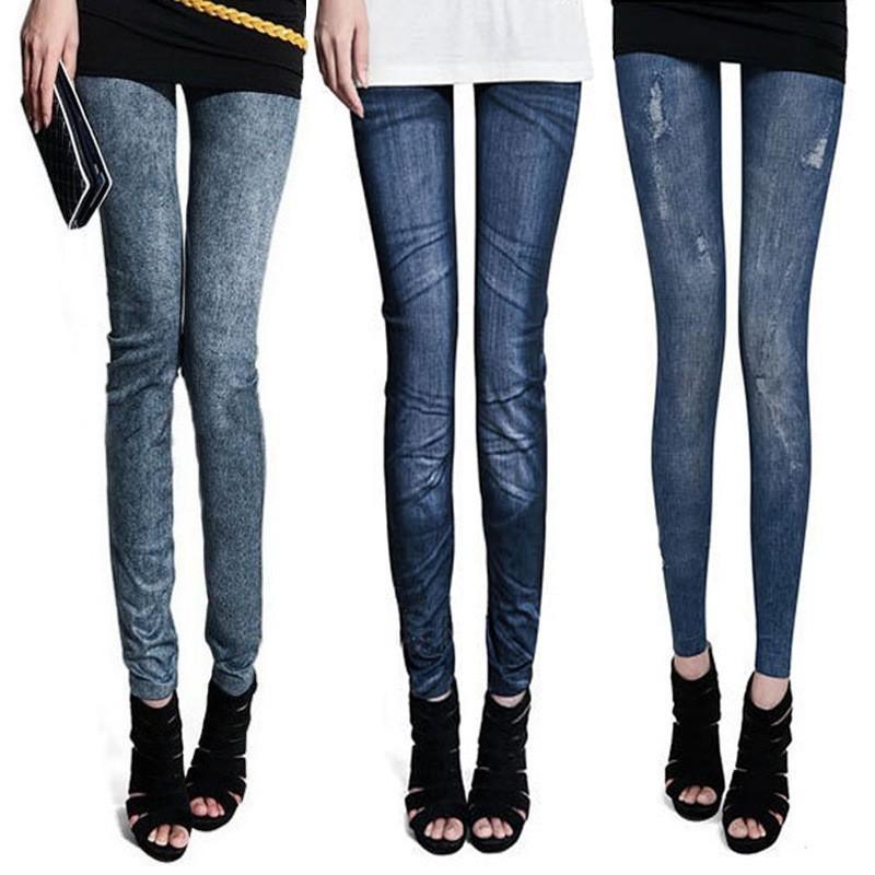 2015 Women Leggings Wild Denim Sport Leggings Casual Printed Punk Leggins Womens Thin Pencil Jeggings Pants gym clothes(China (Mainland))