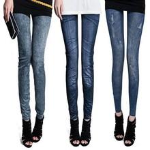 2015 women black leggings wild Denim sport leggings Casual printed punk leggins girls thin Pencil jeggings