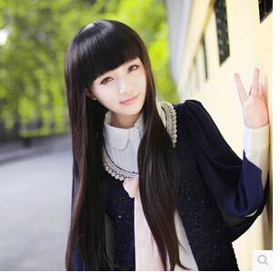 Wig female Long straight hair neat bang round lovely vivid natural scene shooting temperament lady wig hair(China (Mainland))