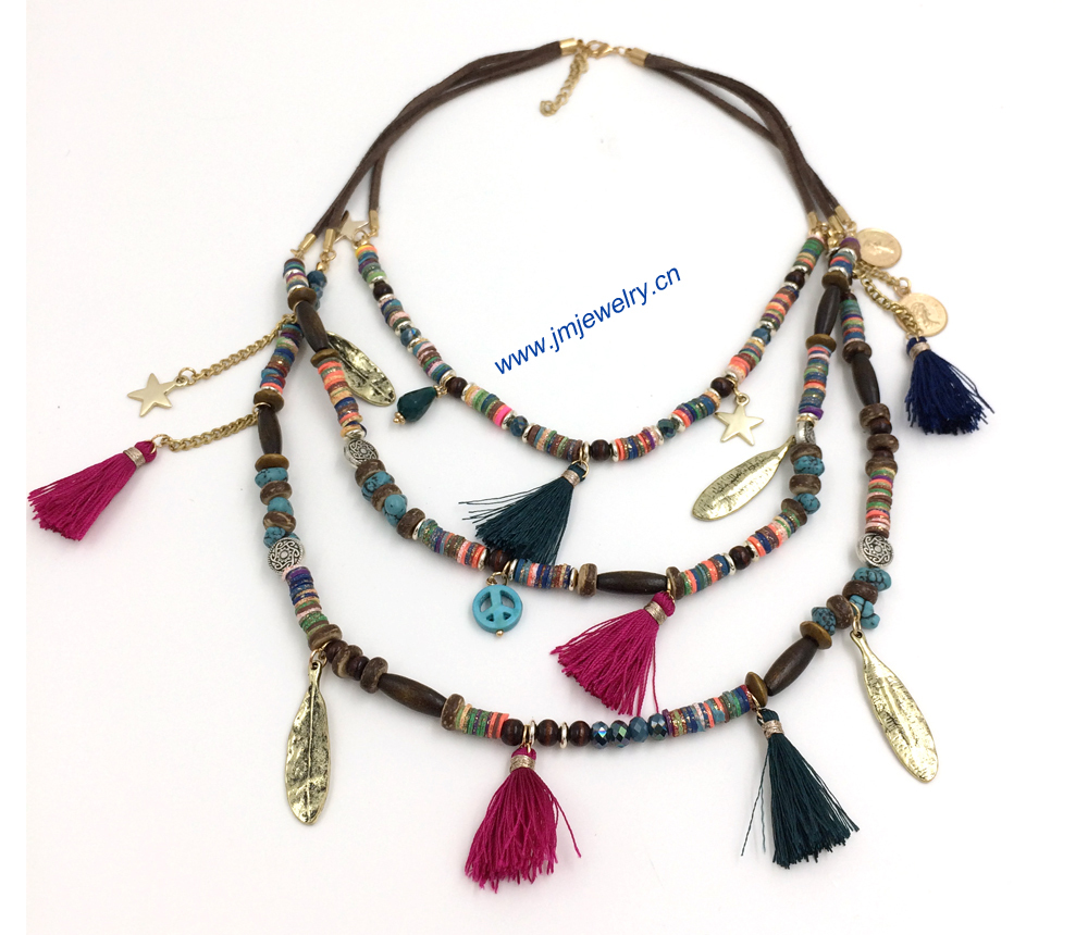 Handmade Jewelry Wholesale Boho Style Beaded Necklace Statement Necklace Tassel Summer Style For