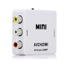 New RCA to HDMI AV to HDMI 1080P AV2HDMI Mini Signal Adapter Signal Converter for LED Projector TV VHS VCR DVD Records