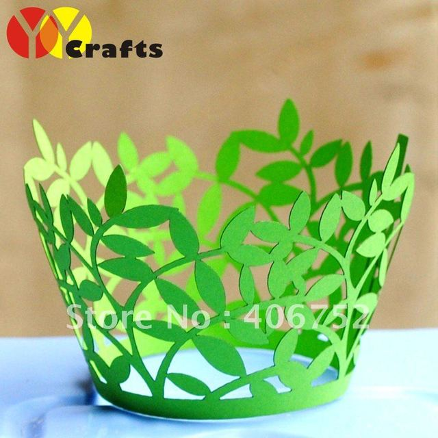 """party favors """"leaves"""" wedding decoration cupcake wrappers 100pcs/lot free logo fast shipment"""