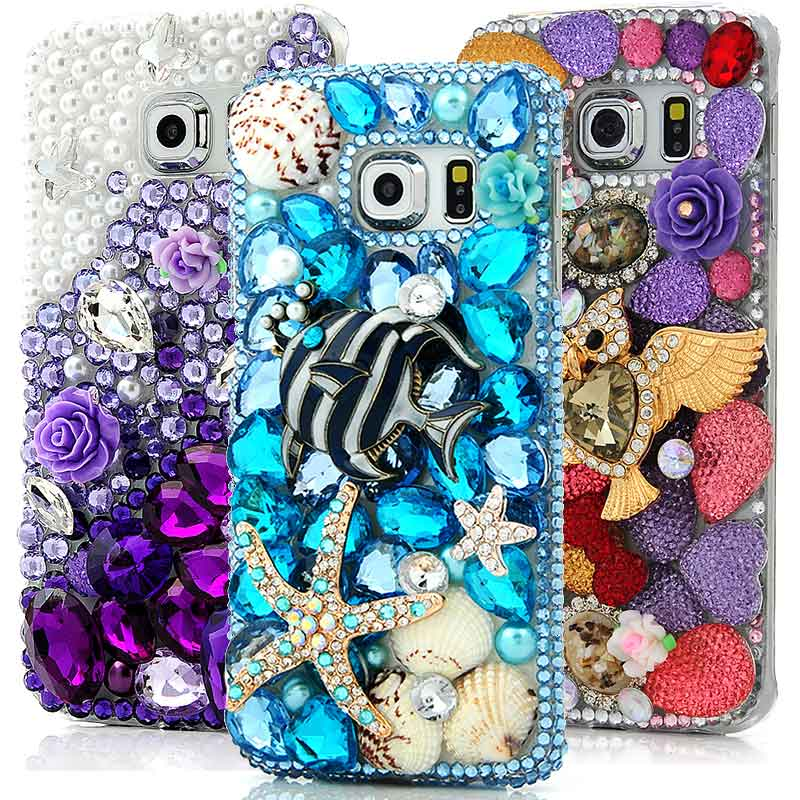Not for S6 Mavis s Diary Handmade Rhinestone Diamond Pearl Butterfly Case Cover for Samsung