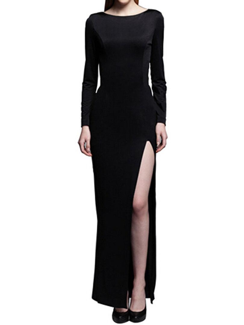 2016 New Arrival Elegant Women Clothing Black Cut Out Back Long Sleeve Plain Split Maxi Dress Summer Spring Wear Best Selling(China (Mainland))