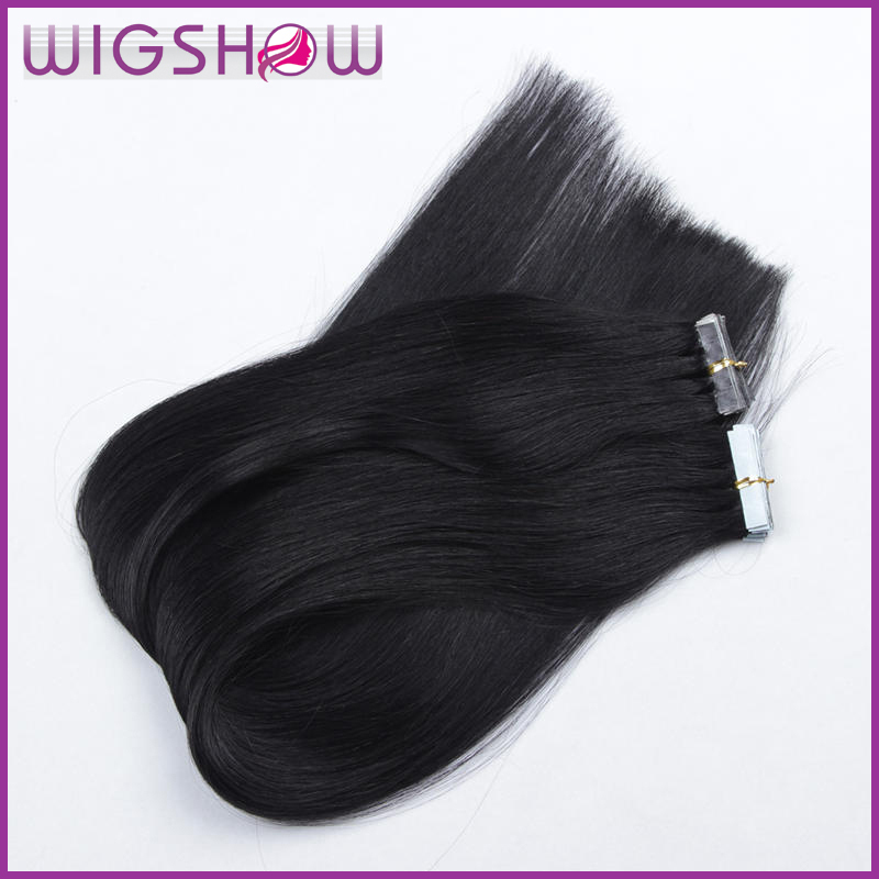 Hot Remy Tape in Human Hair Extensions 100% Brazilian Virgin Hair Extension Natural Black Straight Tape Adhesive Hair Extension