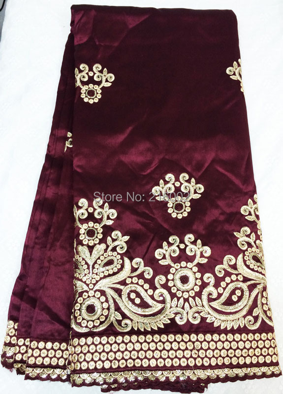 African flower embroidered satin lace fabric in dark wine for Georges chakra gold wedding dress price