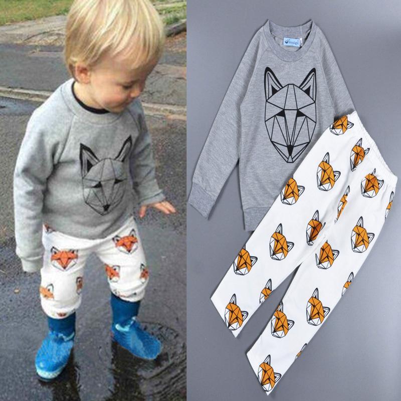 wholesale Bobo Choses girl clothing set Fox Face Cartoon baby boys girls clothes Animal printed T-shirt + pants Christmas gifts<br><br>Aliexpress
