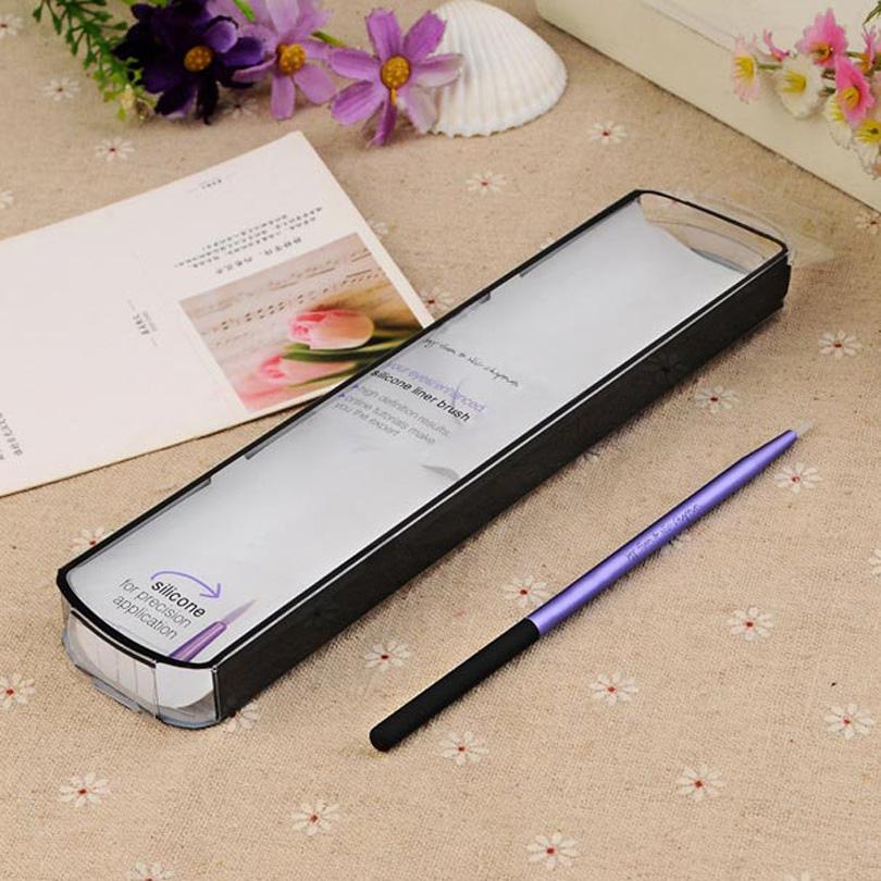 Techniques Cosmetic silicone eyeliner brush purple professional eyes makeup brushes single Aluminum tube beauty by box make up(China (Mainland))