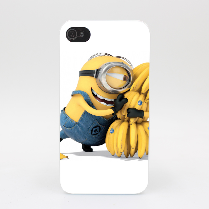 115GS Cubierta Lindo Minion y Pl Tano Hard White Case Cover for iPhone 4 4s 5 5s 5c SE 6 6s Plus Print(China (Mainland))