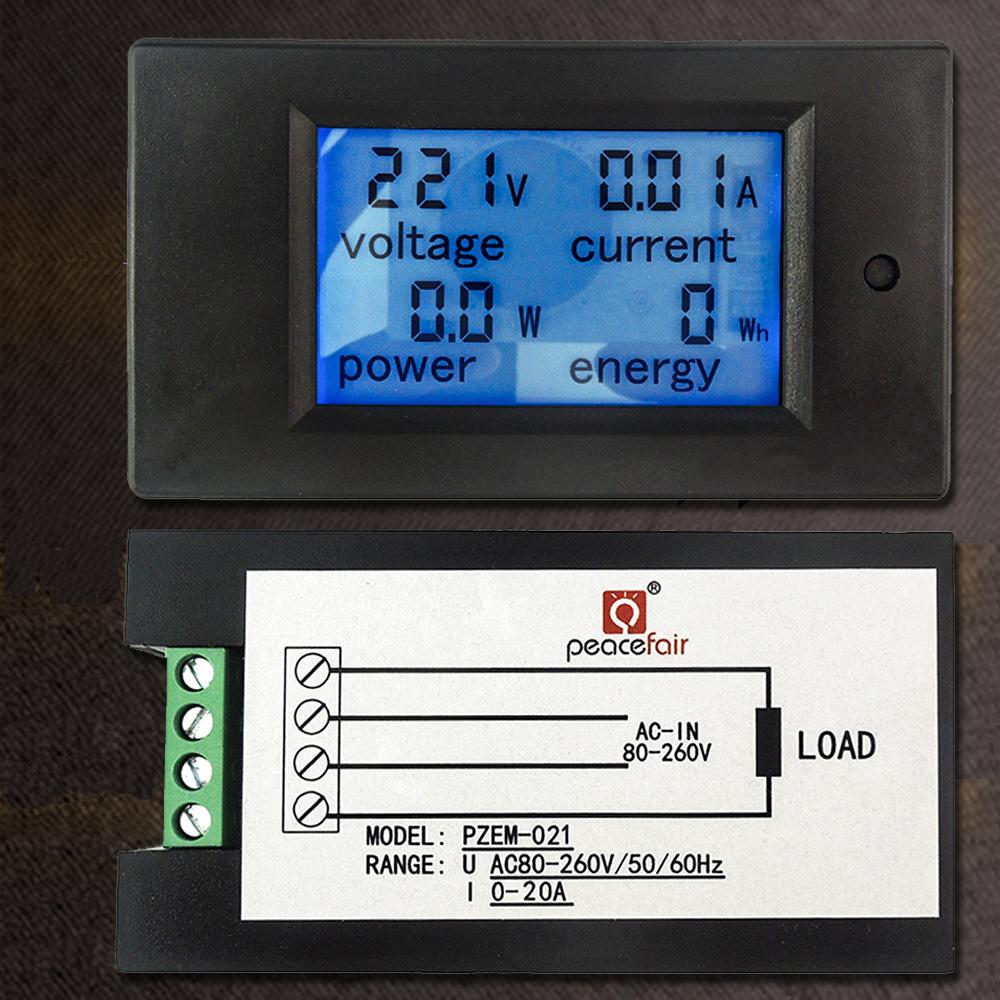 AC 80V-260V 20A 4 in 1 Digital LCD Display Digital Current Voltmeter Ammeter Power Energy Multimeter Panel Tester Meter Monitor(China (Mainland))