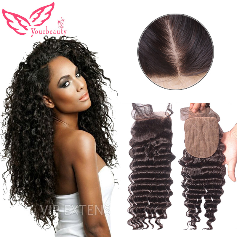 Cheap Silk Base Closures 4*4 Brazilian Hair Deep Wave Silk Lace Closure With Baby Hair Free Middle 3 Part Natural Color in Stock<br><br>Aliexpress