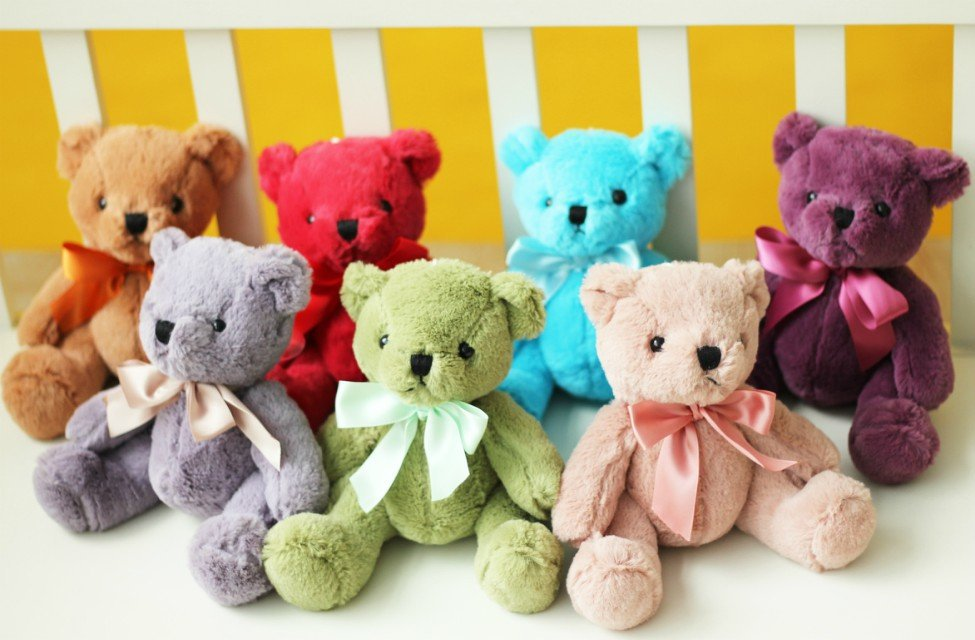 7 pcs Free Shipping colorful teddy bear plush toys, candy-colored bear dolls, cars sucker pendant Home Decoration(China (Mainland))