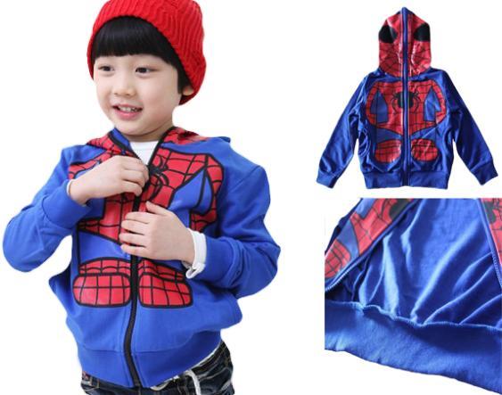 2015 New Design Retail Kids Clothes Cotton Jacket Hooded Tops Boys Spiderman Cartoon