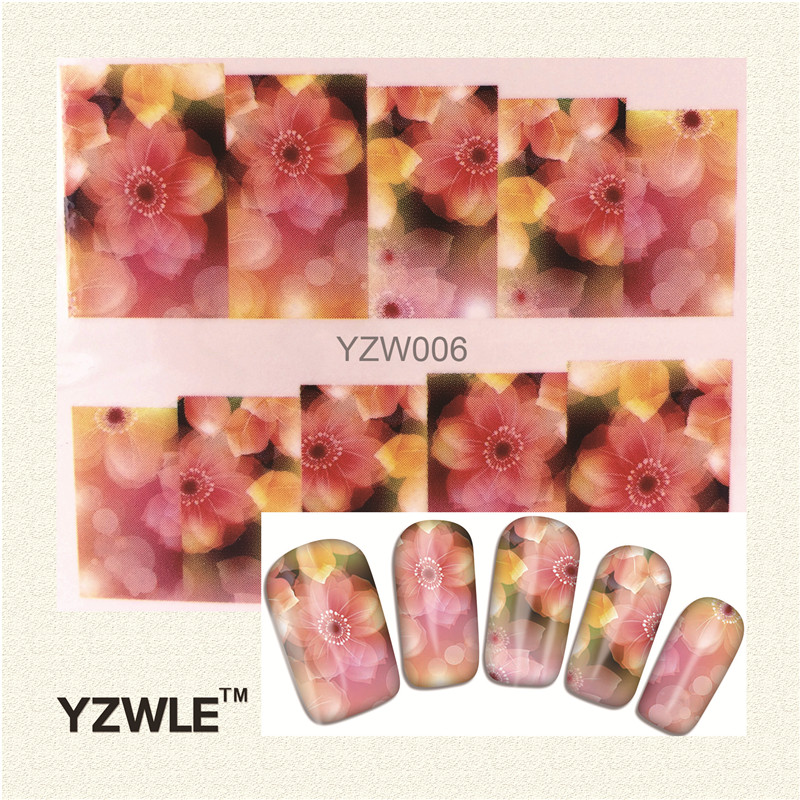 YZWLE 2016 New Styles Pink flower Water Transfer Nail Art Sticker Cat Flower Etc Manicure Decor Tool Cover Nail Wrap Deca(China (Mainland))