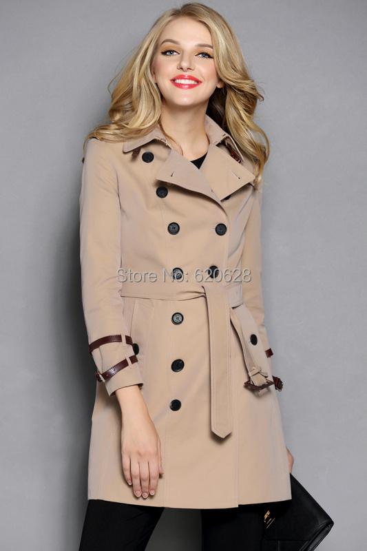 2014 Women Fashion Double Breasted Leather Buckle Trench Coat/Designer Elegant Khaki, Black F320B016 - Brand Clothing store