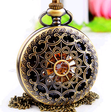 New Arrival Antique bronze Mechanical Pocket Watch For Women Girl ladies Alloy Skeleton Case Necklace Pendant Watch gift(China (Mainland))