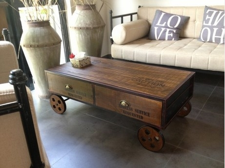 American village coffee movable pulley retro nostalgia old for Furniture village coffee tables