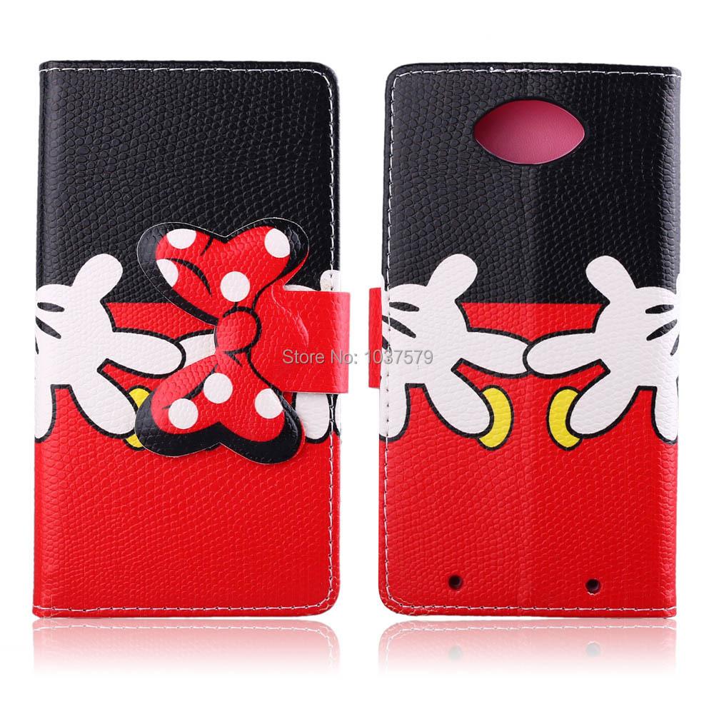 Hot sale! Cute Mickey PU Flip Leather Phone Case Cover For Motorola DROID Turbo XT1254 Phone Case with Card Holder Free Shipping(China (Mainland))