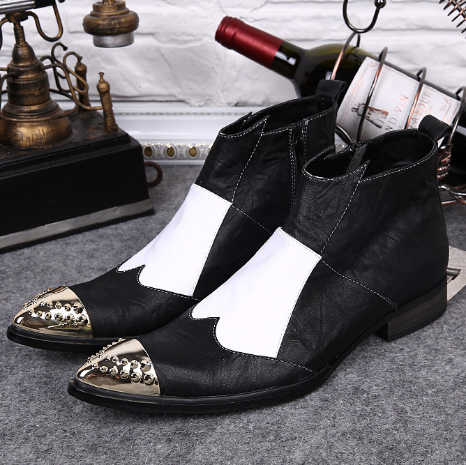 New vintage Mens fashion punk Mixed Colors Ankle boots Pointed Toe Full Grain Leather cowboy Western boots for men<br><br>Aliexpress