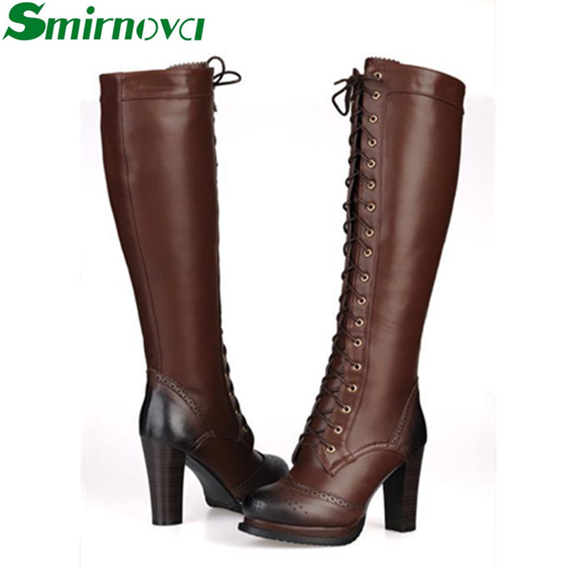 Фотография New winter fashion lace up genuine leather boots Black brown high heel women