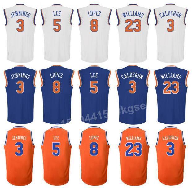 2016 Printed 23 Derrick Williams Jersey 3 Jose Calderon 3 Brandon Jennings Shirt Orange Blue White 5 Courtney Lee 8 Robin Lopez(China (Mainland))