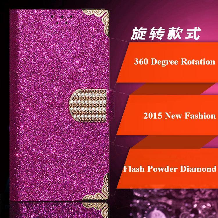 Utime U100S Case, 2015 Top Fashion Universal 360 Degree Rotation Flash Powder Diamond Phone Cases for Utime U100S(China (Mainland))