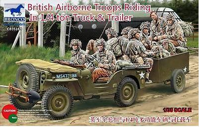 Bronco 35169 1/35 scale British Airborne Troops Riding In 1/4 Ton Truck & Trailer(China (Mainland))