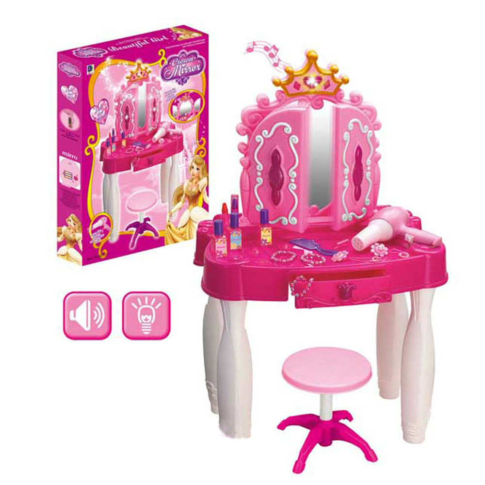 Dream princess girl's playhouse plastic toy make-up table toys set with music light