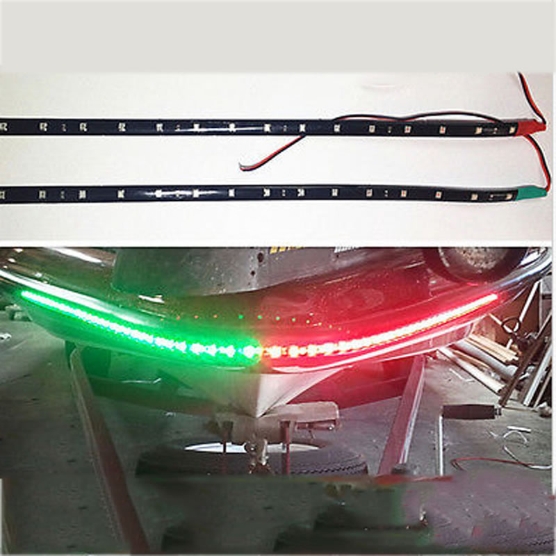 "2x Boat Navigation LED Lighting RED & GREEN 12"" Waterproof Marine LED Strips(China (Mainland))"