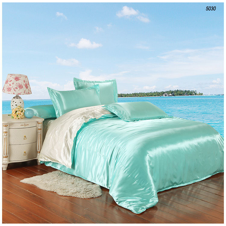 water blue satin silk bedding sets artificial silk bed linen solid color silk comforter cover bedsheet pillowcase milk white5030(China (Mainland))