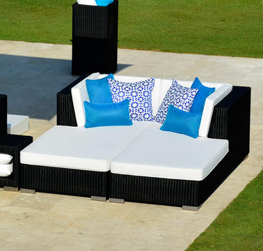 2015 Outdoor Furniture Resin Rattan garden lounge bed SG-180C(China (Mainland))