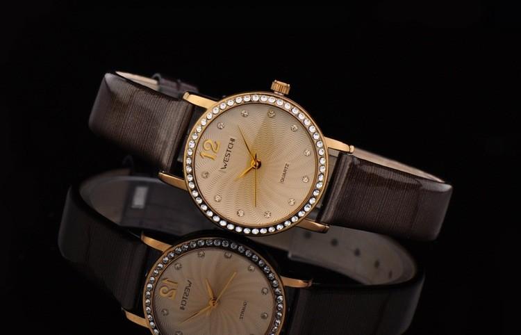 2016 новый дизайн женщин часы лучший бренд WESTCHI часы водонепроницаемые 30 м повседневная ремень из натуральной кожи diamond dial наручные часы