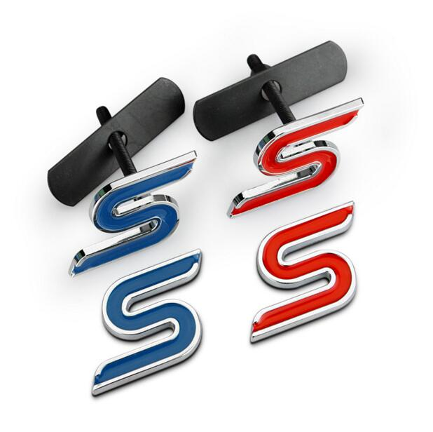 Black Blue Red Metal S ST RS Car Grille Styling Grill Emblem Badge 3D Car Sticker Refitting Decal for Ford Focus Mondeo(China (Mainland))