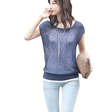 Women elegant Hollow Knit Shirt pullover O neck Batwing sleeve knitwear stylish Casual Slim knitted sweater Tops(China (Mainland))