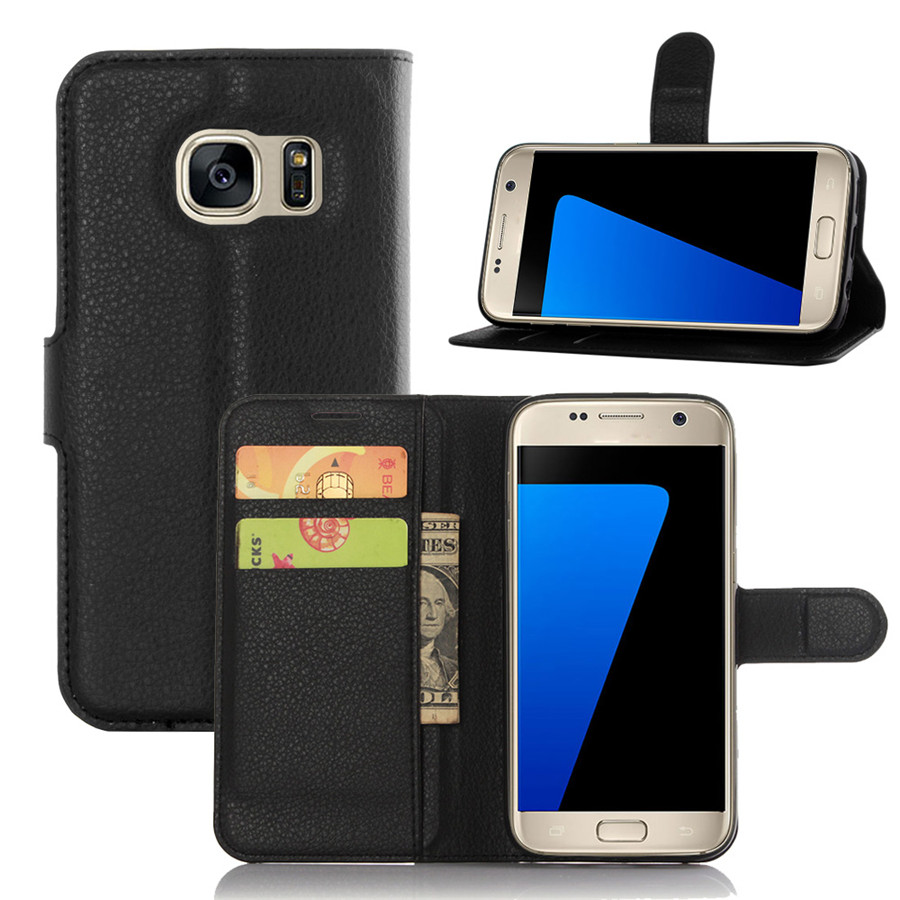 S7 Case Luxury Lychee Print PU Leather Case For Samsung GALAXY S7 9300 Flip Stand Wallet Phone Shell Back Cover With Card Holder(China (Mainland))