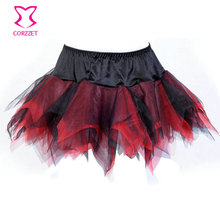 Red And Black Asymmetrical Tulle Tutu Skirts For Women Adult Club Sexy Gothic Burlesque Skirt Plus Size Corset Pretticoat S-XXL