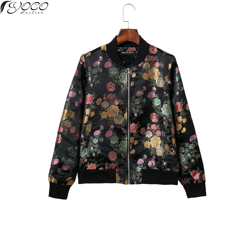 New arrival women s full sleeve embroidered bomber jacket