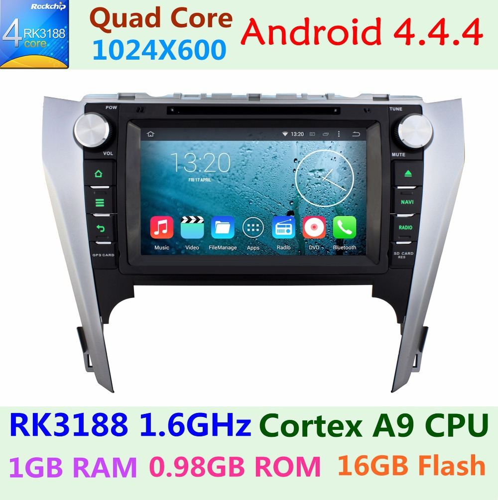 1024*600 Car DVD Player Toyota Camry 2012 2013 2014 Bluetooth GPS Navigation System Android 4.4.4 Quad Core 1.6G CPU 16G Flash(China (Mainland))